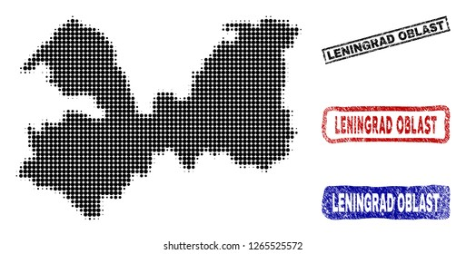 Halftone dot vector abstract Leningrad Oblast map and isolated black, red, blue rubber-style stamp seals. Leningrad Oblast map tag inside rough rectangle frames and with distress rubber texture.