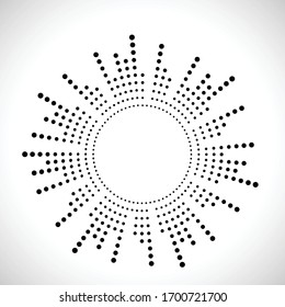 Halftone dots in circle form. round logo . vector dotted frame . Half tone design element