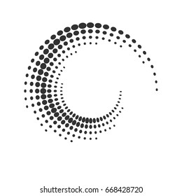 Halftone dots circle texture. Creative geometric pattern. Vector abstract background.