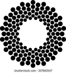 Halftone Dots Circle. Vector Illustration .