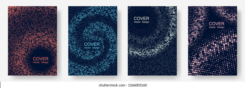 Halftone dots cover page layouts vector design. Flat geometric backgrounds. Party posters set with radial halftone dots gradient texture. Music flyer frame templates. Retro cover pages.