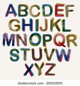 Halftone Dots Font Color Pixels Print Texture Letters Vector Alphabet