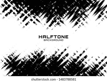 Halftone dots gradient pattern texture horizontal background. Frame using halftone circle zigzag grunge pattern for design of posters, flyers, brochures, covers. Vector zigzag spotted illustration.