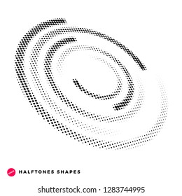 Halftone dots graphic elements, incomplete circle, vector illustration