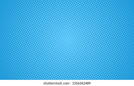 Halftone dots on blue background. Comic pop art style blank layout. Template design for comic book, presentation, sale or web banner. Vector illustration