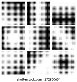 Halftone dots on white background. Vector illustration