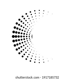 Halftone dots in Semi Circle Form .  Vector Illustration .Technology round. Moon Logo . Design element . Abstract Geometric shape .