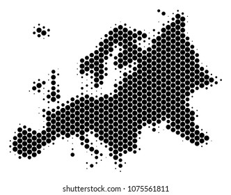 Halftone dotted Europe Map. Vector geographic map on a white background. Vector collage of Europe Map done of spheric blots.