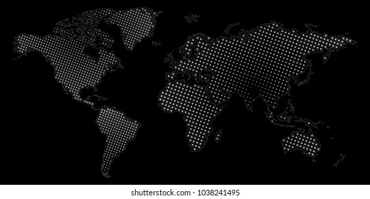 Halftone dotted world map. Vector eps10 illustration of abstract world map.