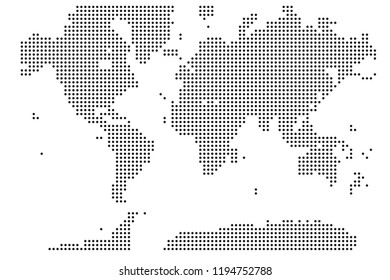 Halftone dotted world map. Vector graphic template for web and graphic designs. Abstract background