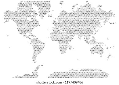 Halftone dotted world map. Vector graphic template for web and graphic designs
