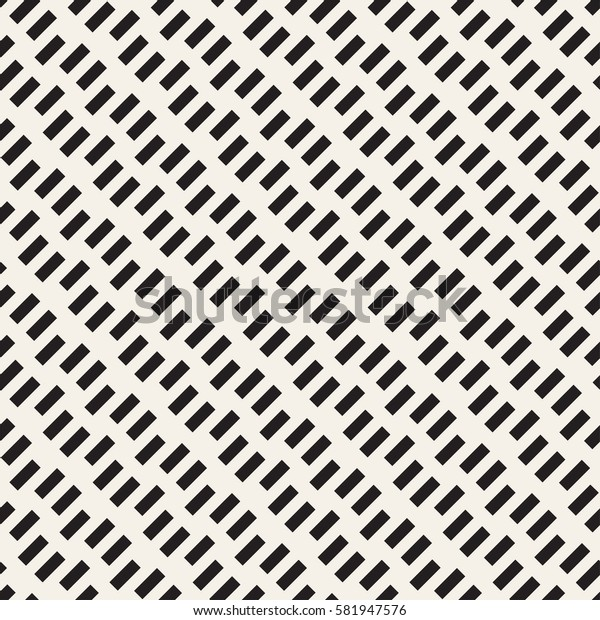 Halftone Edgy Lines Mosaic Endless Stylish Texture. Vector Seamless Black and White Pattern
