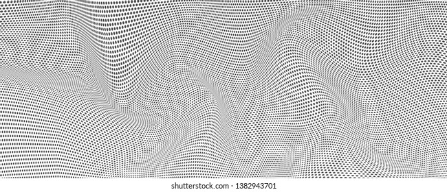 Halftone effect from dots, vector background. Wavy uneven surface like flag or water. Minimalistic design, two-tone undulating backgrounds. Abstract distorted patterns.