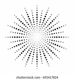 Halftone effect. Dotted sun rays. Vintage sunburst background. Vector