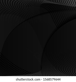 Halftone Element on Blakc Backdrop. Abstract Halftone Background.  Modern Geometric Motion Design Pattern. Vector Illustration