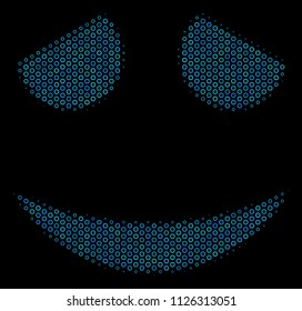 Halftone Embarassed smile composition icon of circle bubbles in blue color tints on a black background. Vector circle bubbles are arranged into embarassed smile mosaic.