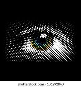 Halftone eye, vector