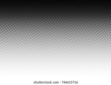 Halftone fade gradient background. Black and white comic backdrop. Monochrome points vector.