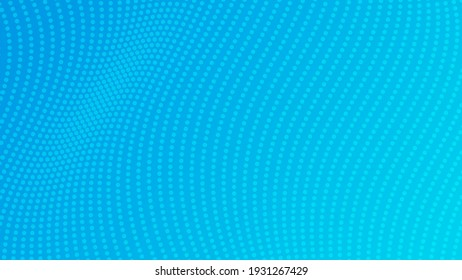 Halftone gradient background with dots. Abstract blue dotted pop art pattern in comic style. Vector illustration