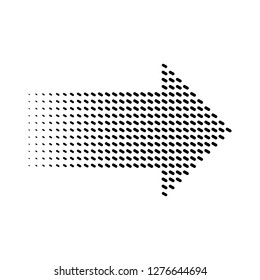 Halftone gradient dots arrow, isolated graphic element, vector illustration