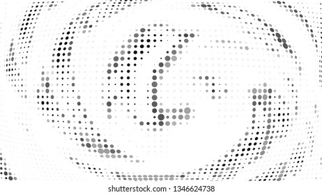Halftone gradient pattern. Abstract halftone dots background. Monochrome gray dots pattern. Vector halftone texture. Radial twisted circle. Grunge texture. Pop Art, Comic small dots. Wave twisted dots