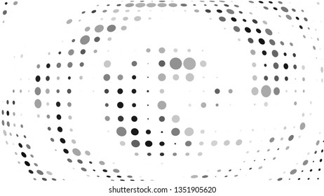 Halftone gradient pattern. Abstract halftone dots background. Gray dots pattern. Vector halftone texture. Radial twisted circle. Grunge texture. Pop Art, Comic small dots. Wave dots, 3D sphere