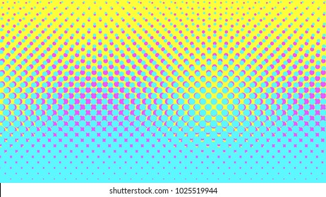 Halftone gradient pattern vertical vector illustration. Blue yellow pink dotted halftone texture. Pop Art blue yellow pink halftone glitch Background. Background of Art. EPS10