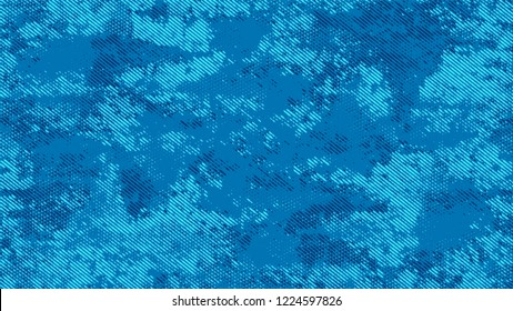 Halftone Grainy Texture with Grunge Dots and Spots. Rough Grungy Pattern Design. Faded Dyed Style Texture. Blue Monochrome Print Design Background.
