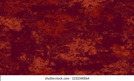 Halftone Grainy Texture with Grunge Dots and Spots. Rough Grungy Pattern Design. Overlay Grainy Style Texture. Orange and Brown Broken, Spotted Print Design Background.