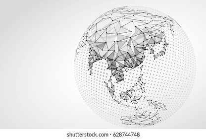 Halftone gray Globe Earth point line illustration. Asia India China Oceania connection dots low poly map. Polygonal triangle planet monochrome vector art.