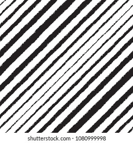 Halftone hand drawn seamless repeat pattern, background. Brush, chalk diagonal stripes, oblique, tilted lines, inclined streaks, strips, bars with rough edge. Striped black and white dynamic texture