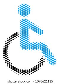 Halftone hexagon Disabled Person icon. Pictogram on a white background. Vector pattern of disabled person icon organized of hexagonal blots.