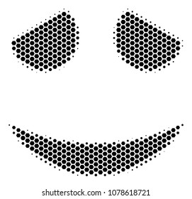 Halftone hexagon Embarassed Smile icon. Pictogram on a white background. Vector mosaic of embarassed smile icon organized of hexagon spots.