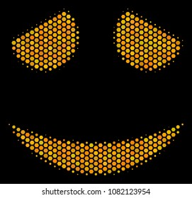 Halftone hexagon Embarassed Smile icon. Bright gold pictogram with honey comb geometric structure on a black background. Vector pattern of embarassed smile icon constructed of hexagonal dots.