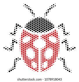 Halftone hexagon Ladybird Bug icon. Pictogram on a white background. Vector concept of ladybird bug icon created of hexagon spots.