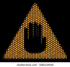 Halftone hexagonal Caution icon. Bright yellow pictogram with honey comb geometric pattern on a black background. Vector pattern of caution icon organized of hexagon dots.