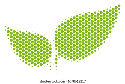 Halftone hexagonal Floral Leaves icon. Pictogram on a white background. Vector composition of floral leaves icon combined of hexagonal spots.