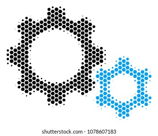 Halftone hexagonal Gears icon. Pictogram on a white background. Vector pattern of gears icon done of hexagonal dots.