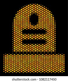 Halftone hexagonal Grave icon. Bright gold pictogram with honey comb geometric pattern on a black background. Vector concept of grave icon done of honeycomb elements.