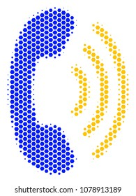 Halftone hexagonal Phone Ring icon. Pictogram on a white background. Vector mosaic of phone ring icon designed of hexagonal pixels.