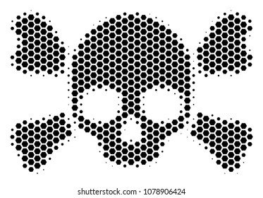Halftone hexagonal Skull Crossbones icon. Pictogram on a white background. Vector composition of skull crossbones icon combined of hexagon items.