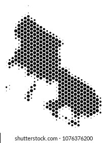 Halftone hexagonal Skyros Greek Island Map. Vector geographic map on a white background. Vector pattern of Skyros Greek Island Map designed of hexagonal items.