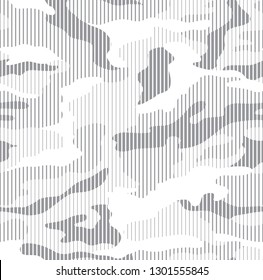 Halftone line camouflage in white and grey