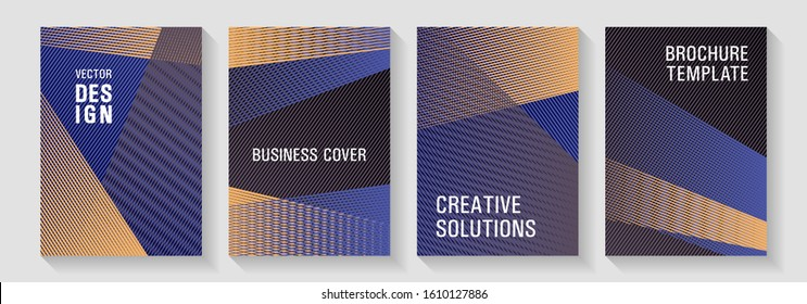 Halftone lines placard backgrounds design. Cool triangles compositions. Cover templates set with logo places. Dynamic technological wallpapers. Poster linear minimalistic Eps10 vectors.
