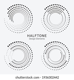 Halftone logo set. Circular dotted logo isolated on the white background. Garment fabric design.Halftone circle dots texture. Vector design element for various purposes.