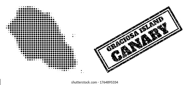Halftone map of Graciosa Island, and grunge seal. Halftone map of Graciosa Island constructed with small black round elements. Vector seal with scratched style, double framed rectangle,