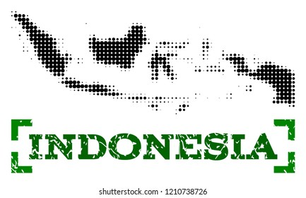 Halftone map of Indonesia and grunge caption. Vector green title with corners and grunge rubber texture. Halftone map of Indonesia designed with black pattern of circles.