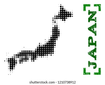 Halftone map of Japan and rubber caption. Vector green title with corners and grunge rubber texture. Halftone map of Japan designed with black pattern of circles.