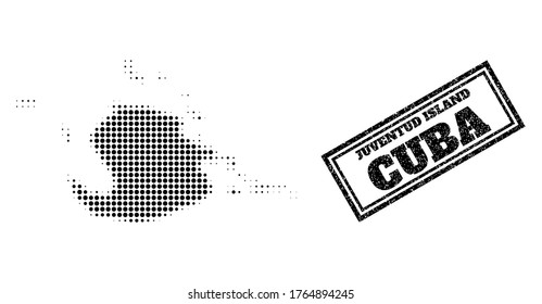 Halftone map of Juventud Island, and grunge stamp. Halftone map of Juventud Island generated with small black spheric pixels. Vector imprint with grunge style, double framed rectangle, in black color.