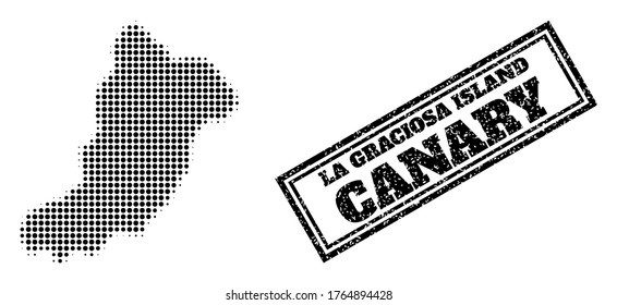 Halftone map of La Graciosa Island, and rubber watermark. Halftone map of La Graciosa Island made with small black spheric points. Vector watermark with retro style, double framed rectangle,
